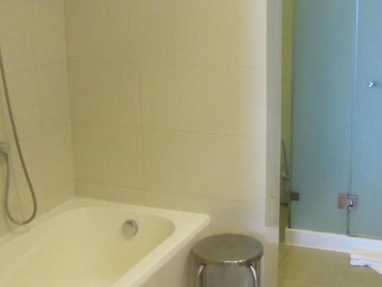 view into bathroom on left