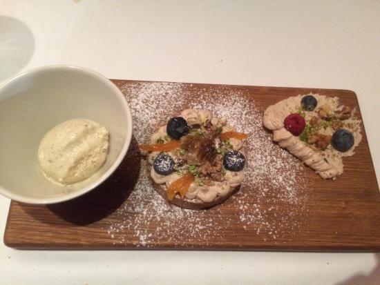 Brasserie Most : First item on the dessert menu. Walnut-type cake with walnut and honey ice cream. Soooooo good!!