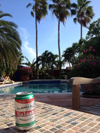 La Maison Aruba: Enjoying an Aruban beer poolside at La Maison!