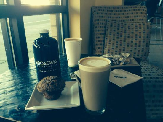 Broadway Coffeehouse: Raspberry muffin, latte and cold brew to go