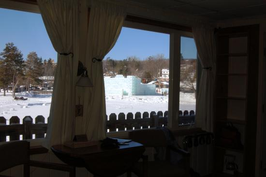 Adirondack Motel: View from inside room 11.