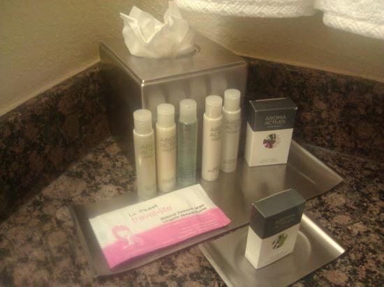Doubletree Hotel Tallahassee: Unreadable bottles that always fall over