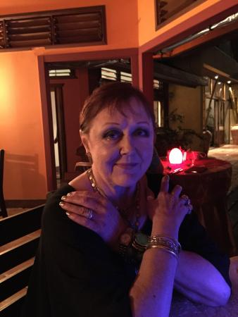 Frangipani Boutique Restaurant: Donna at dinner