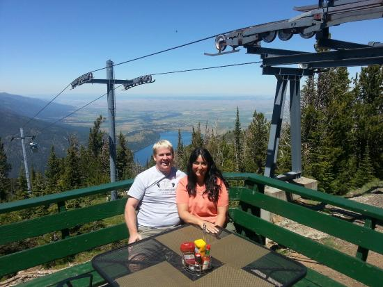 Wallowa Lake State Park: My wife and I enjoying the view at the Summit grill
