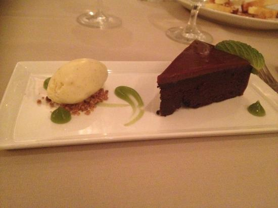 Rouge: Flourless Chocolate Torte, Milk Chocolate Ganache, With Vanilla Ice Cream