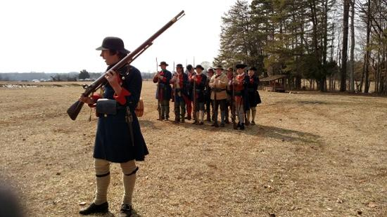 Fort Dobbs: Reenactment - soldiers explaining muskets loading and firing