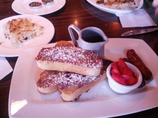 rubbery french toast, sausage jerky & $5 side if hashbrown casserole