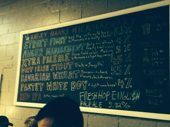 Angry Hank's Microbrewery: Beer de jour !!