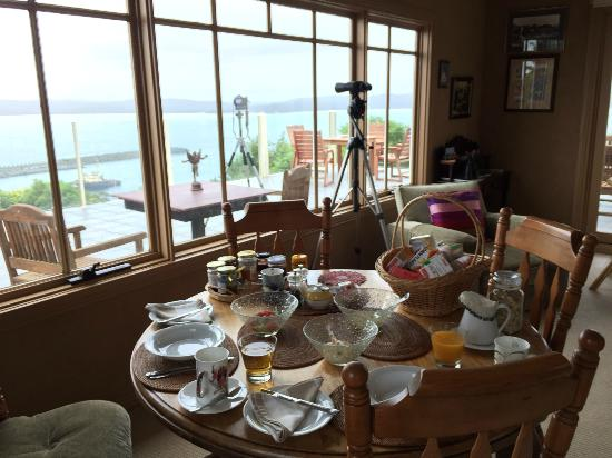 Cocora Cottage B&B: Breakfast table with a view outside