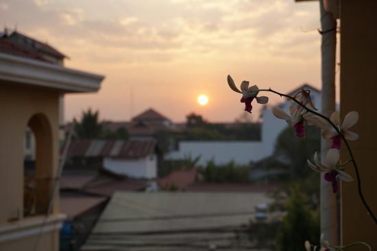 Auberge Mont-Royal d'Angkor: Sunrise on balcony