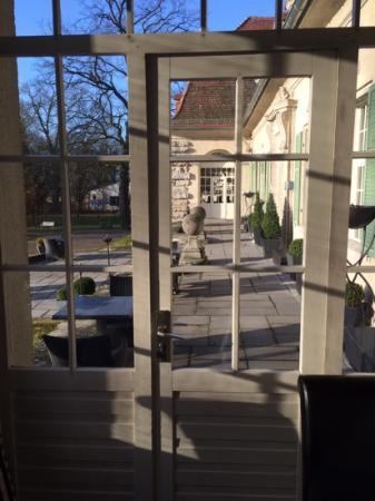 Schloss Kartzow: view onto outside terrace from breakfast room