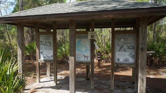 Cedar Point Environmental Park: Sign showing various animals and birds found in park