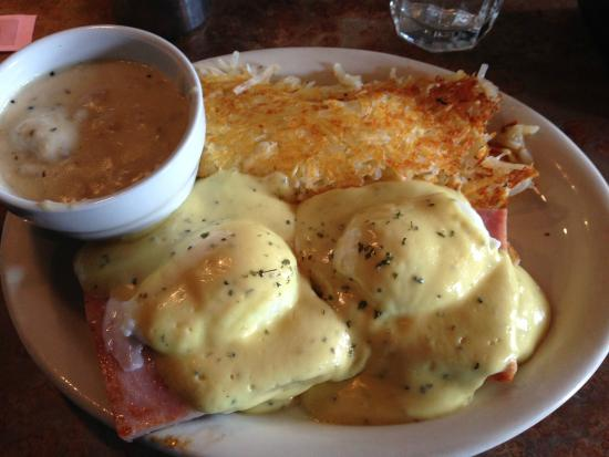 Lightship Restaurant: Eggs Benedict, with Hashbrowns and a side of country gravy.