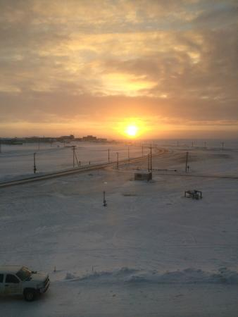 Barrow, Alaska sunset in February 2015 from room
