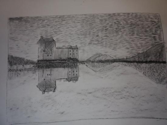 art4you Scotland: Eilean Donan in charcoal