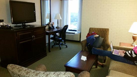 Drury Inn & Suites Nashville Airport: Great separate living room area with microwave and small fridge in TV Stand.