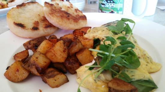 Local 188: Mushroom, goat cheese, herb egg scramble