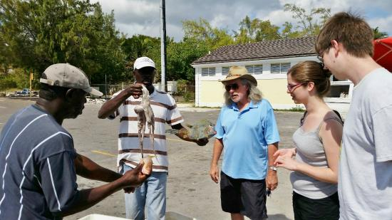 People to People : Nassau fishermen's dock (Malcolm in blue shirt)