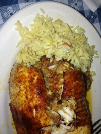 The Greek Village: My Birthday Dinner Fresh Talapia stuffed w/Maryland Crab & seasoned w-their special seasonings o