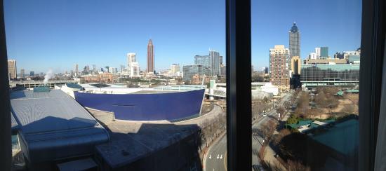 Hilton Garden Inn Atlanta Downtown Below You See The Blue Georgia Aquarium And To The