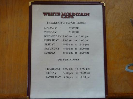 White Mountain Cafe : Menu