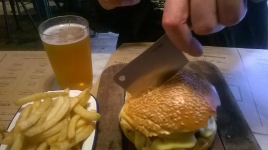 a truly mouthwatering burger and chips, cooked the way you like it