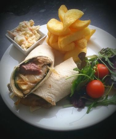 Bolton, UK: succulent rump steak wrap