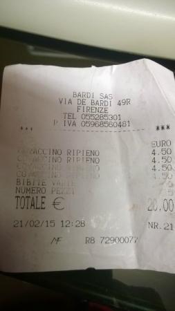 Amici di Ponte Vecchio Da Stefano: conto
