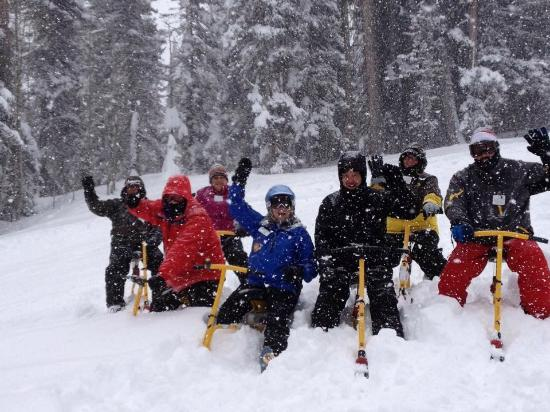 Durango Snowbike Experience: Donna is leading us down the mountain through deep snow!