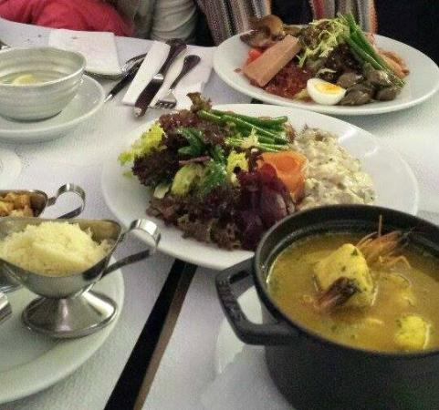Roberts Bistro : (from top) Duck four ways, matjes, fish soup