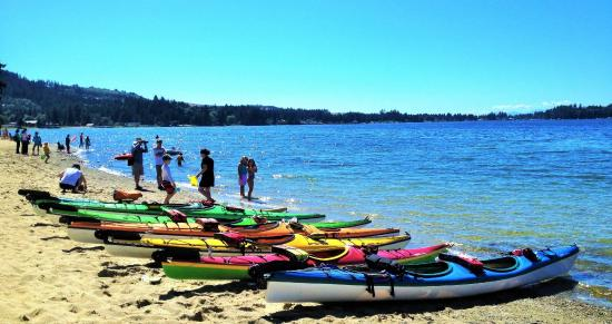 Talaysay Tours : Blue water and sandy beaches at Porpoise Bay Provincial Park - a paddle mecca