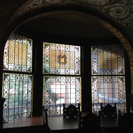 Priceless tiffany windows in the dining hall picture for Hall window design