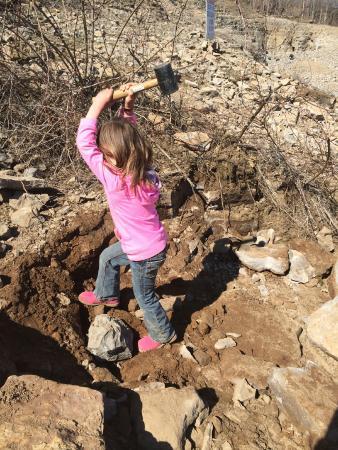 Herkimer Diamond Mines: hammering away