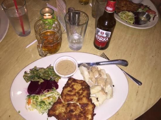 Beaver Choice: Pork Schnitzel with polish dumplings, cole slaw, green beans and pickled beets