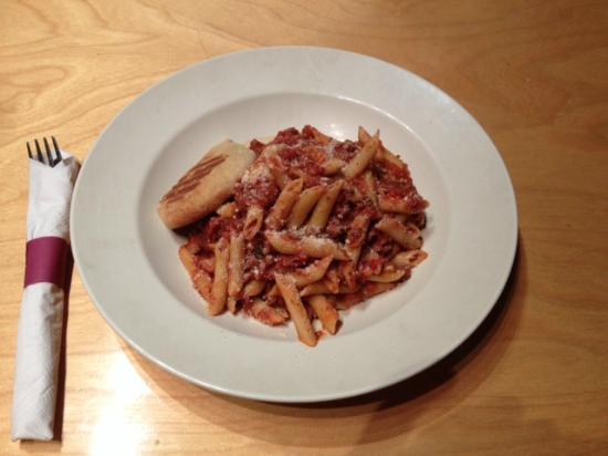 Little Azio: Penne with turkey sausage/ragu sauce