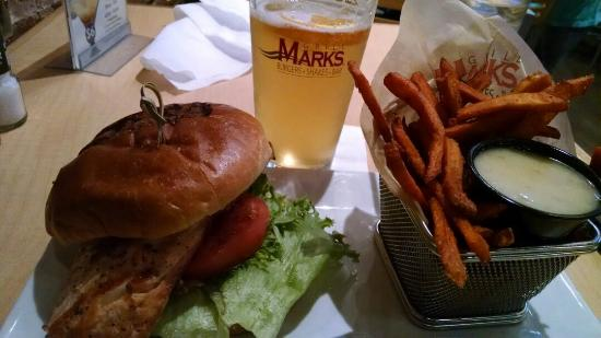 Grill Marks: Salmon burger with small side of sweet potatoes