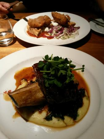 Mildred's Temple Kitchen : Fried chicken on waffles and Coffee & Black Olive Caramel Beef Short Ribs