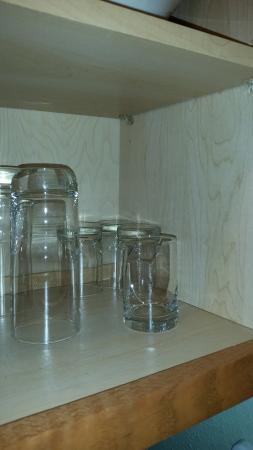 Gatlinburg Town Village: Broken glass in cabinet