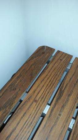 Gatlinburg Town Village : Loose rusted screw in shower seat
