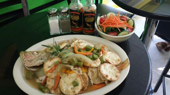 Sweet Spice: Steamed red snapper with water crackers and salad