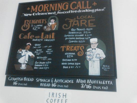 menu - Picture of Morning Call Coffee Stand, New Orleans ...