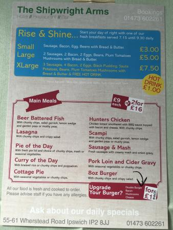 Shipwrights Arms Hotel: New menu
