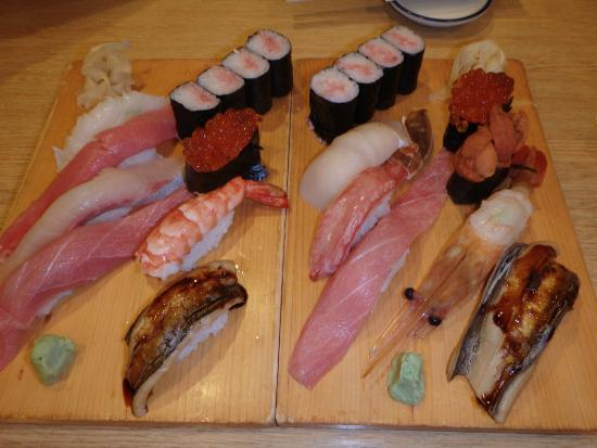 Edokkozushi: two of the set menu options, one is the Taku, unsure of the other.