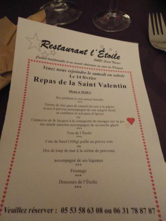 Restaurant L'Etoile : Menu soirée spéciale