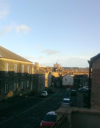Bow House: The is the view from the balcony of the Cresy room looking toward the town centre