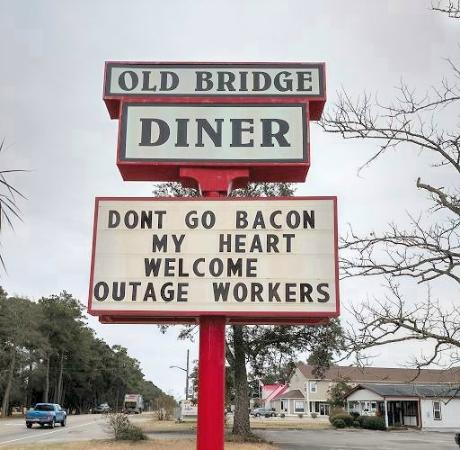 Sign on road picture of old bridge diner oak island for 4 t s diner rockingham nc