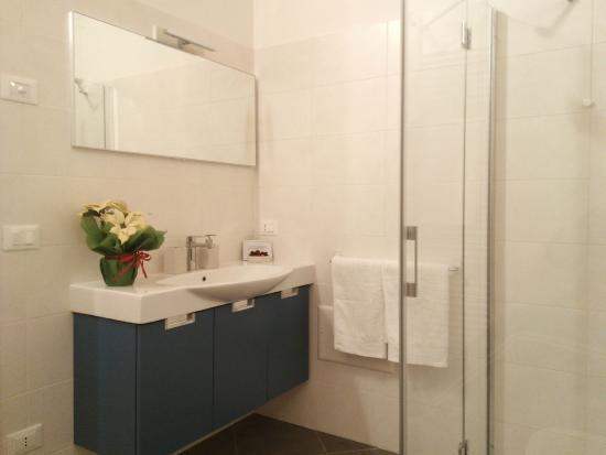 Bagno In Camera Piccolo : Muro di piastrelle nel bagno della camera della piccola toilette