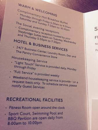 Staybridge Suites San Antonio NW near Six Flags Fiesta Texas: Housekeeping Information included on room key card holder