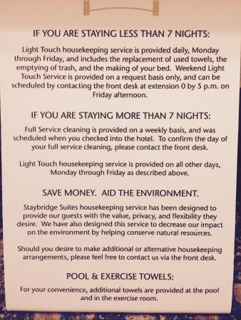 Staybridge Suites San Antonio NW near Six Flags Fiesta Texas: Information literature regarding housekeeping service available on top of the vanity
