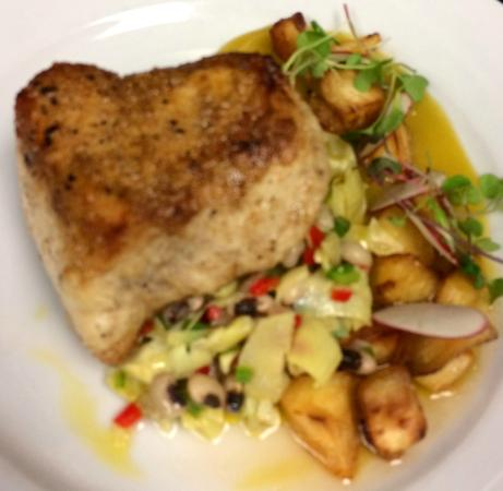 Caterers: Pan roasted swordfish, Yellow beet puree, roasted parsnips ...